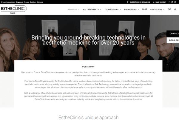 Engage Content Dublin EstheClinic Singapore website text copywriting