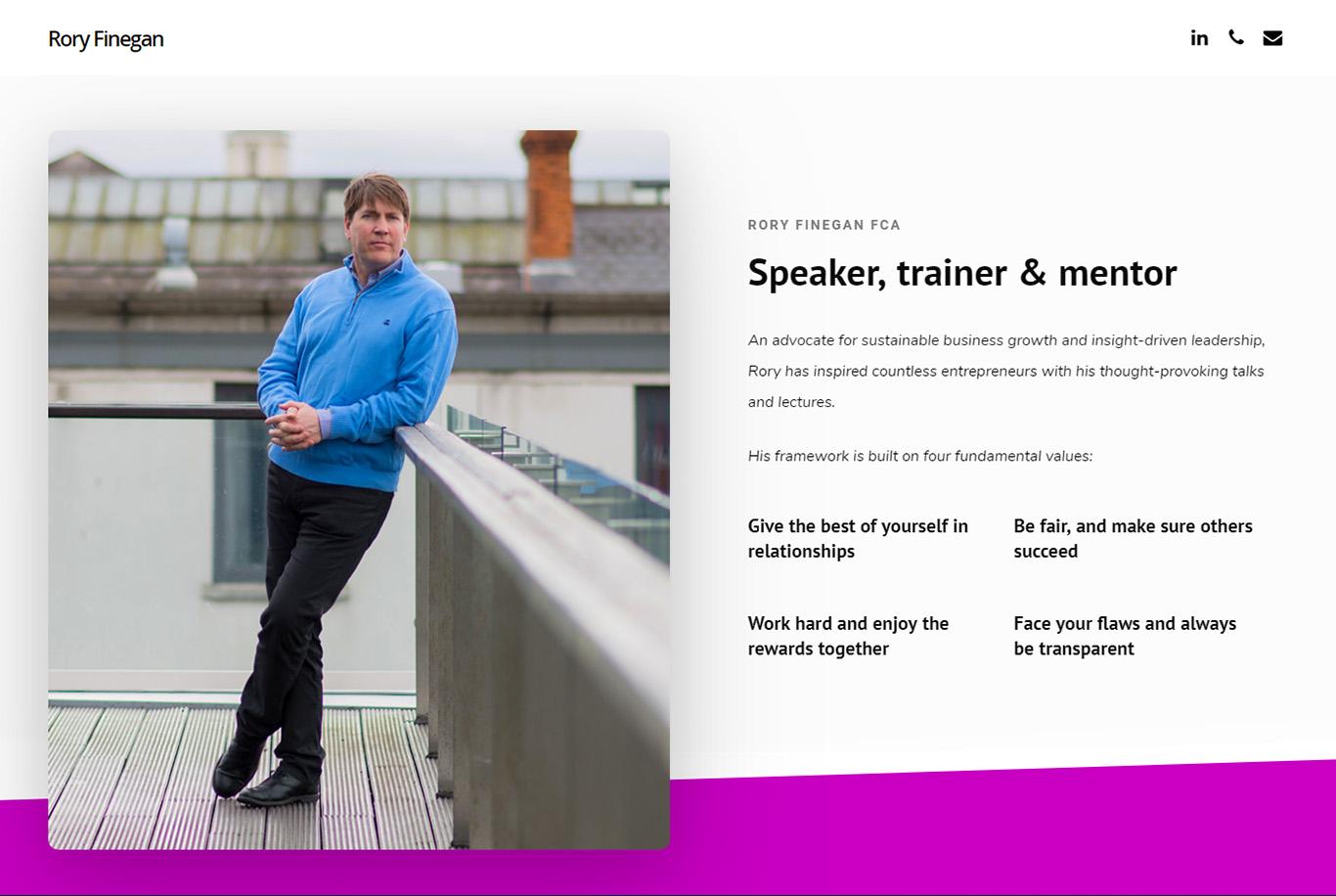 Rory Finegan - Speaker Mentor Advisor - brochure website - Engage Content Marketing Agency Dublin